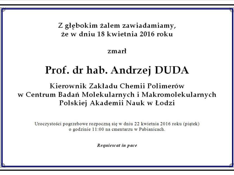 Zmarł Prof. Andrzej Duda