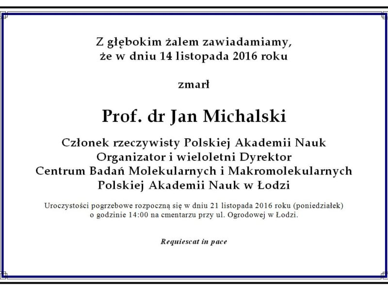 Zmarł Prof. Jan Michalski